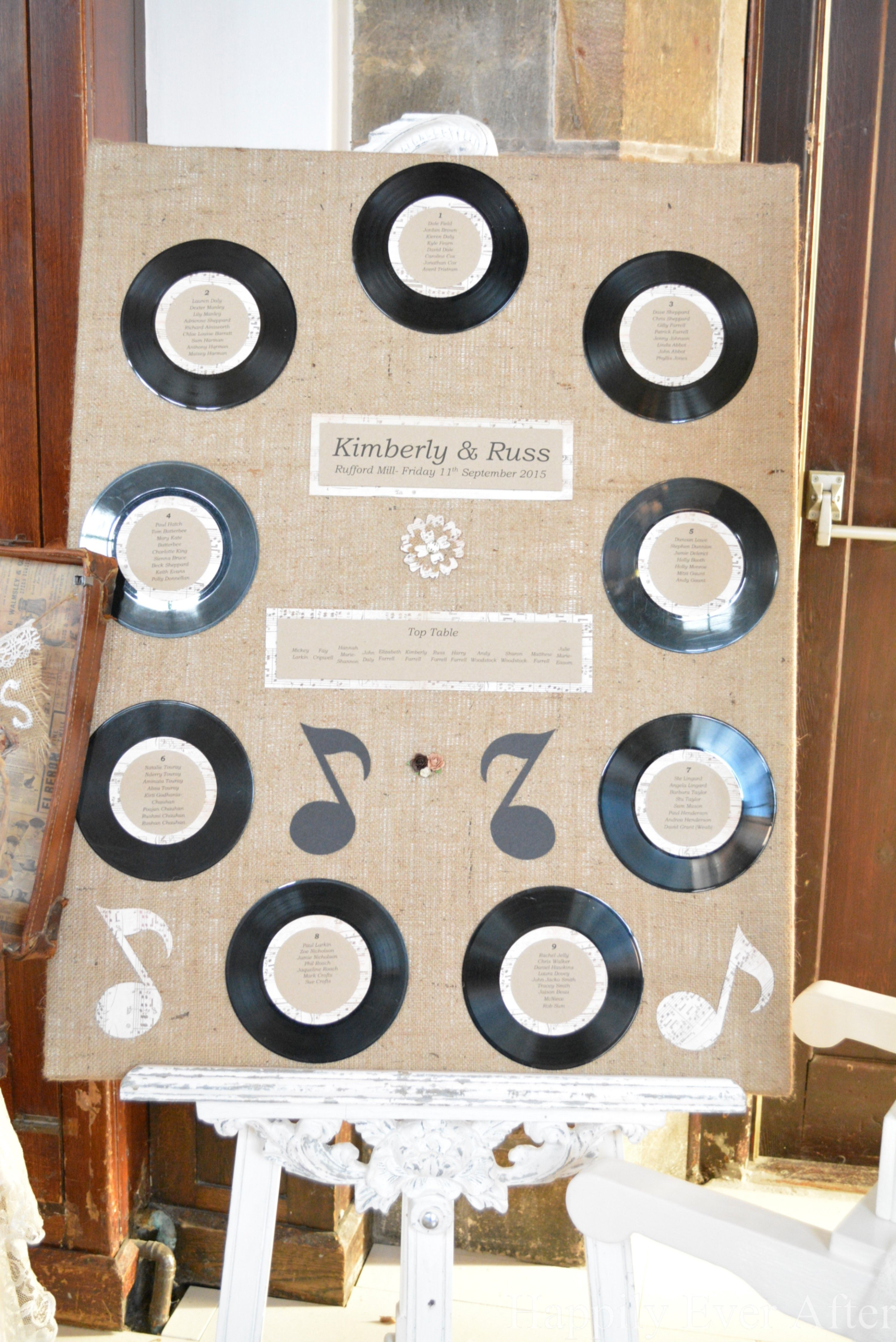 A rustic table plan with a retro music theme. Using old vinyl ...