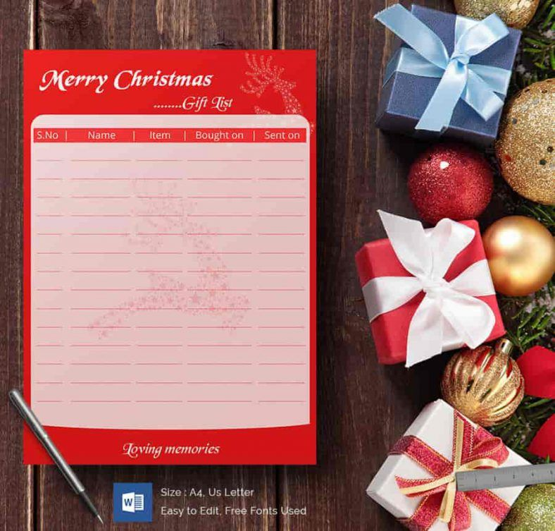 Word Document For Christmas Gift List 788x753 , 24+ Christmas Wish - free word christmas templates