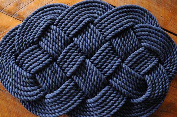 Decor Nautique La Couverture De Corde Coton Tapis Par Oyknot Decor Nautique Tapis De Bain Bleu Tapis De Bain
