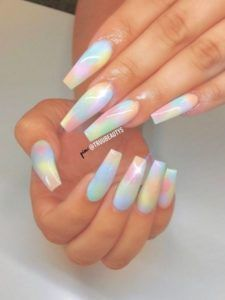 rainbow coffin acrylic nails rainbow acrylic coffin