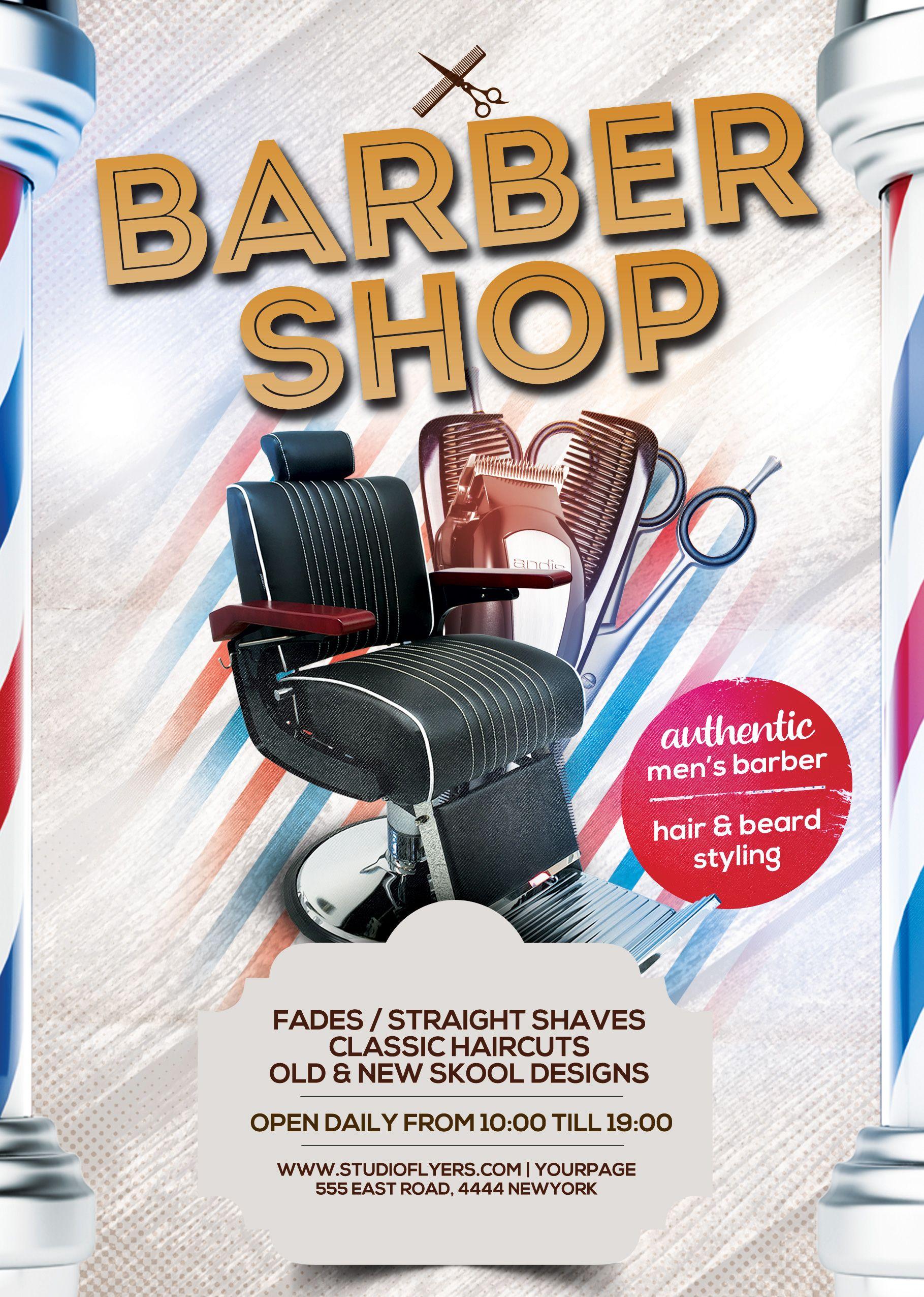 Barbershop Free Psd Flyer Template Studioflyers Com Free Psd Flyer Templates Free Psd Flyer Psd Flyer Templates Barber shop flyer free template