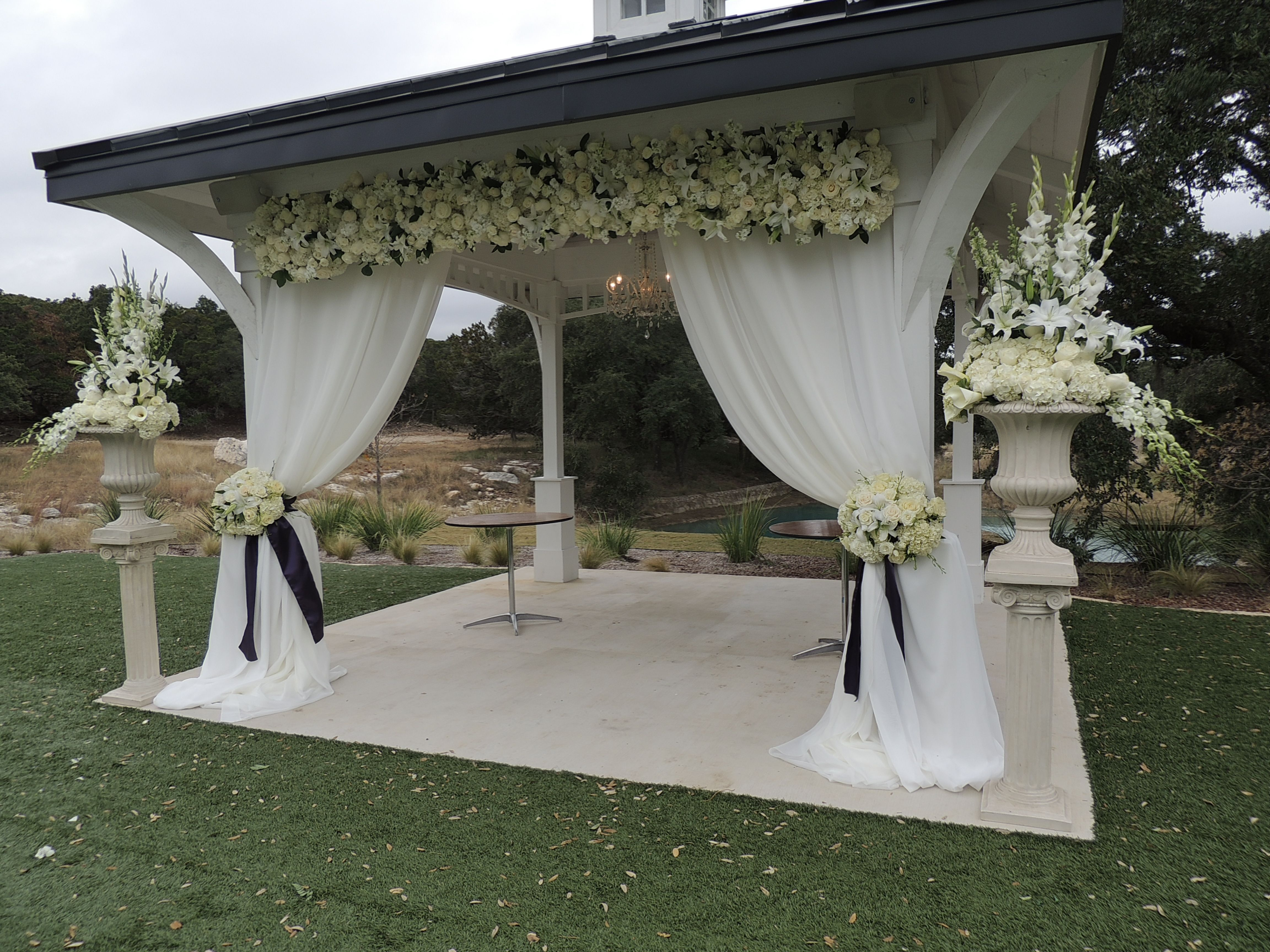 Ceremony decor Wedding ceremony All white wedding Gazebo