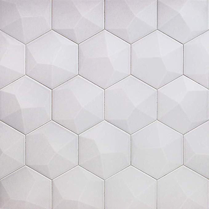 Bethlehem 3d Hexagon Pearl 5 9 X 6 96 Matte Ceramic Wall Tile 1 Box Covers 5 4 Sq Ft Amazon Com In 2020 Wall Tiles Ceramic Wall Tiles Tiles
