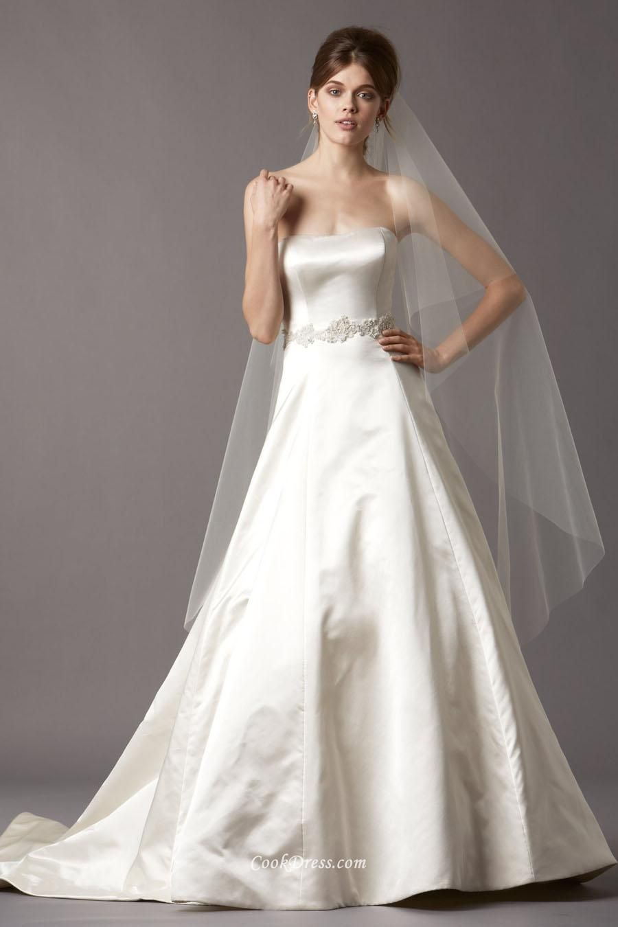 Simple strapless a line long satin wedding dress with lace belt simple strapless a line long satin wedding dress with lace belt ombrellifo Choice Image