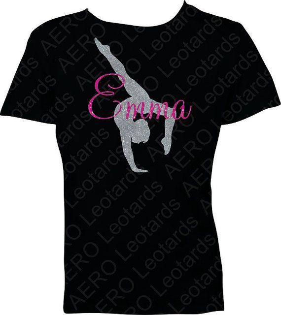 Gymnastics Personalized Custom Glitter Tshirt with by AEROLeotards, $19.95