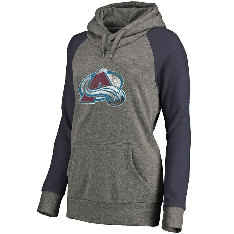 b96da7c2 Women's Fanatics Branded Heathered Gray Colorado Avalanche Plus Sizes Team  Distressed Pullover Hoodie