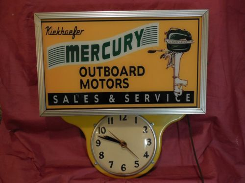 Mercury Outboard Motors Lighted Advertising Sign & Teardrop Clock Boats