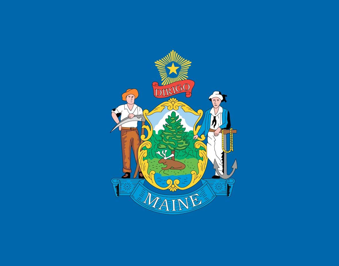 Maine flag | Maine State Flag graphic | Maine ME ...