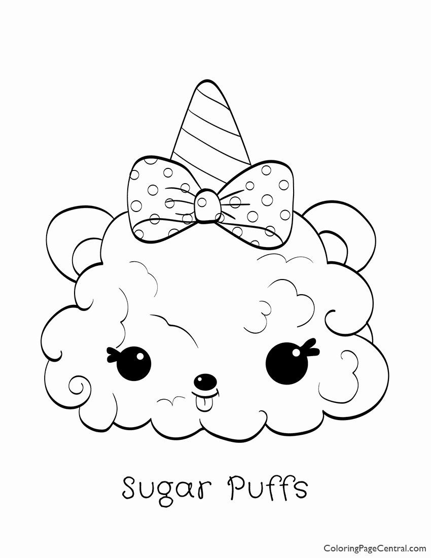 Holiday Coloring Pages Printable Free New Num Noms Sugar Puffs Coloring Page In 2020 Princess Coloring Pages Unicorn Coloring Pages Coloring Pages