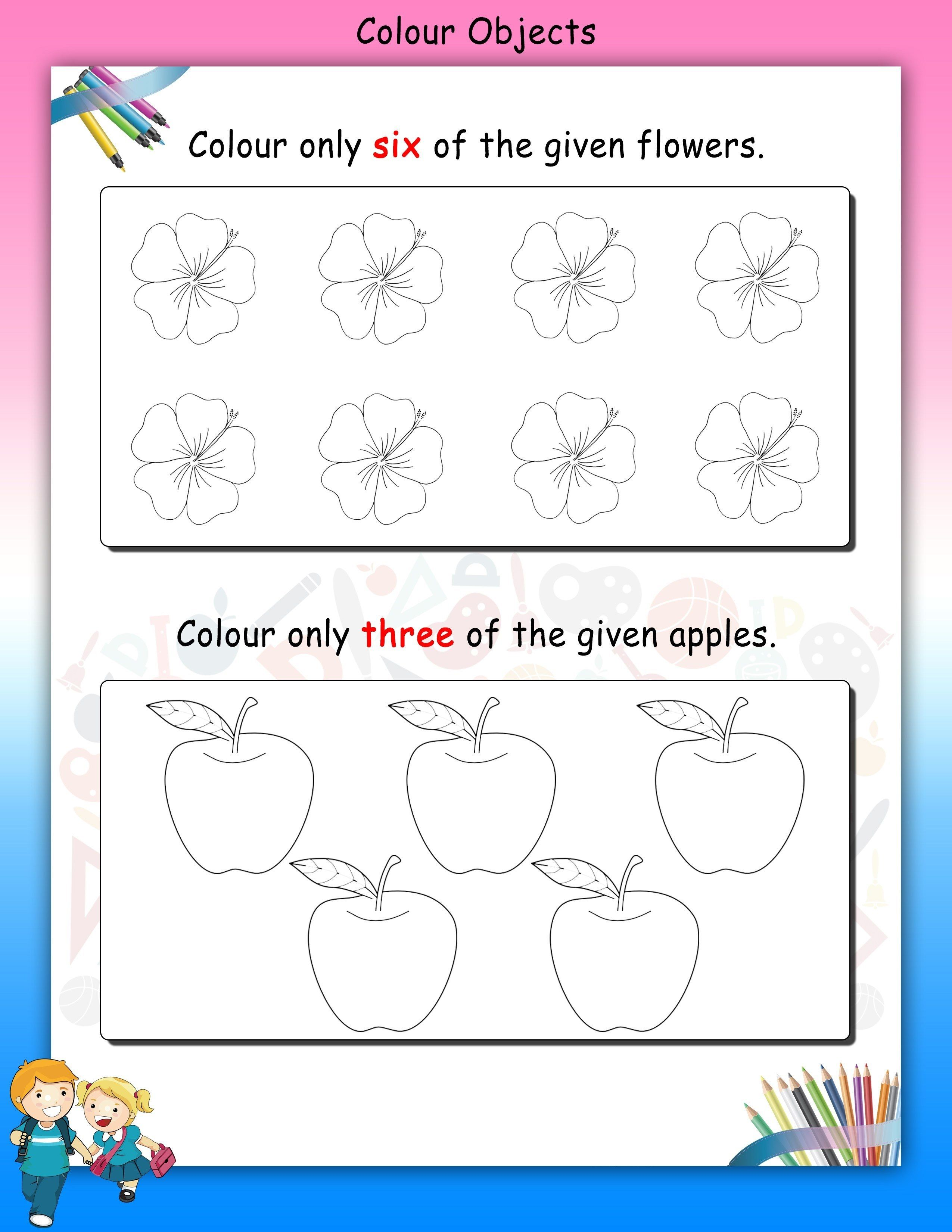 Counting And Coloring Worksheet For Nursery Printable