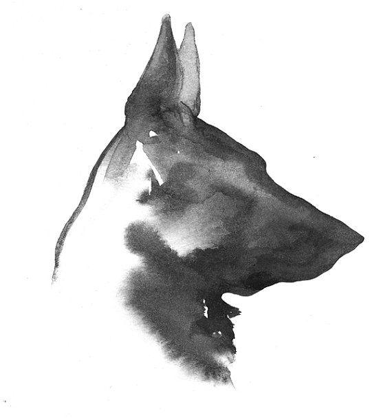 Black German Shepherd Watercolor Painting By Whiskeredpaintings