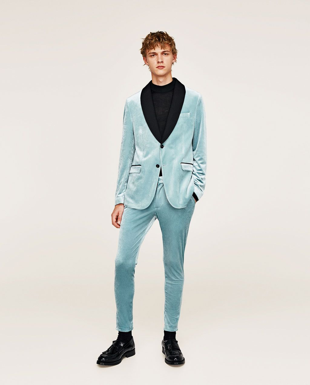 3560178cd3 Image 1 of SKY BLUE VELVET BLAZER from Zara | Band Style | Blue ...