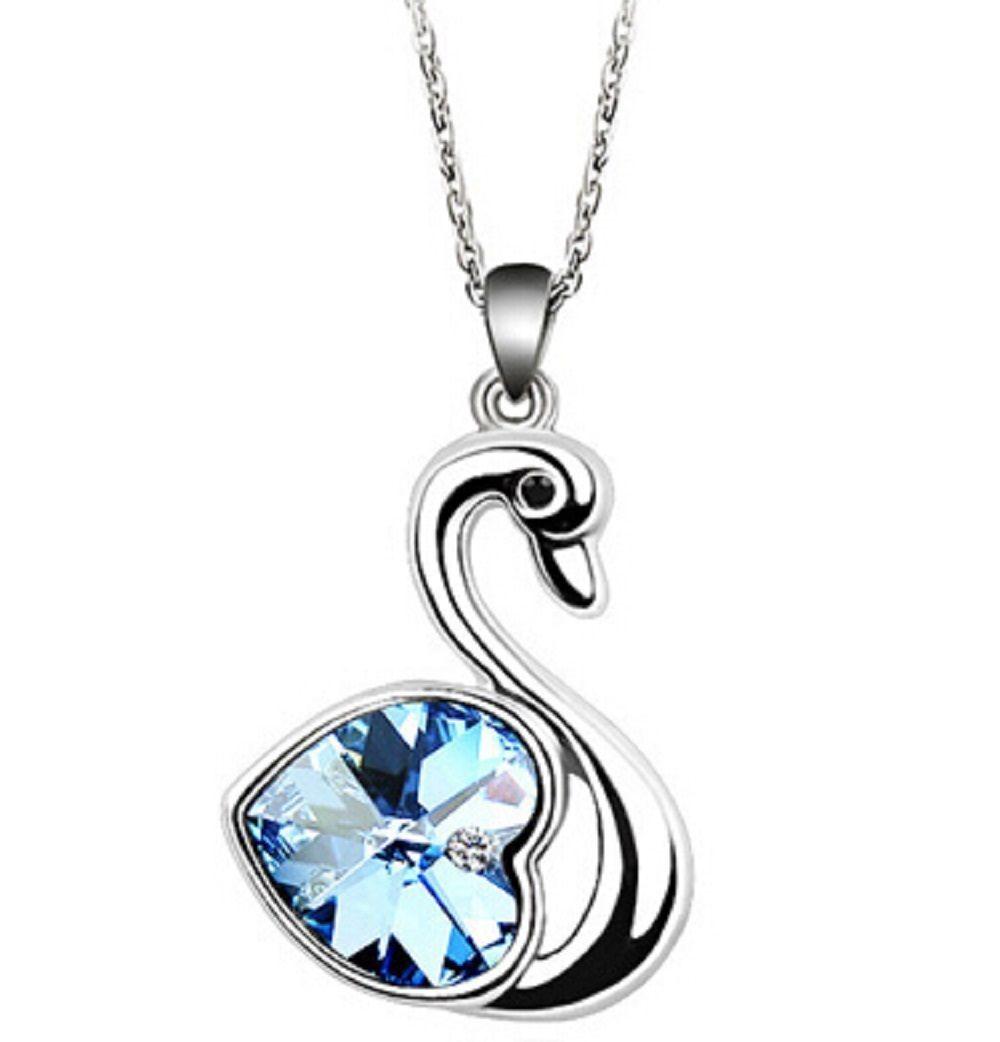 Women Blue Heart Shape Silver Plated Earrings Crystal Long Chain Jewelry