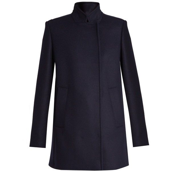 Proenza Schouler Stand-collar double-breasted coat ($1,750) ❤ liked on Polyvore featuring outerwear, coats, navy, navy coat, oversized coat, blue double breasted coat, navy blue double breasted coat and blue coat