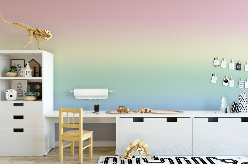 Rainbow Mist Ombre Wallpaper Removable Wallpaper Peel And Stick Wallpaper Unpasted Wallpaper Pre Pasted Wallpaper Ombre Wallpapers Purple Ombre Wallpaper Removable Wallpaper