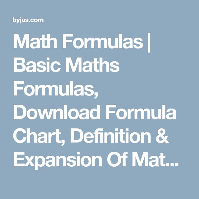Math Formulas | Basic Maths Formulas, Download Formula Chart