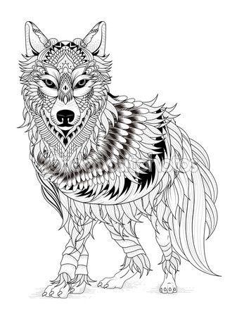 Imponente Lobo Página Para Colorear Vector De Stock Lobos Color