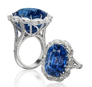 b73ebdeb1e4ce Antique Cushion Sapphire Ring Platinum cocktail ring holds a 42.36 ...