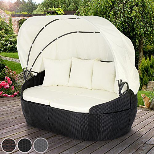miadomodo polyrattan sun lounger with foldable roof 172140100 cm day