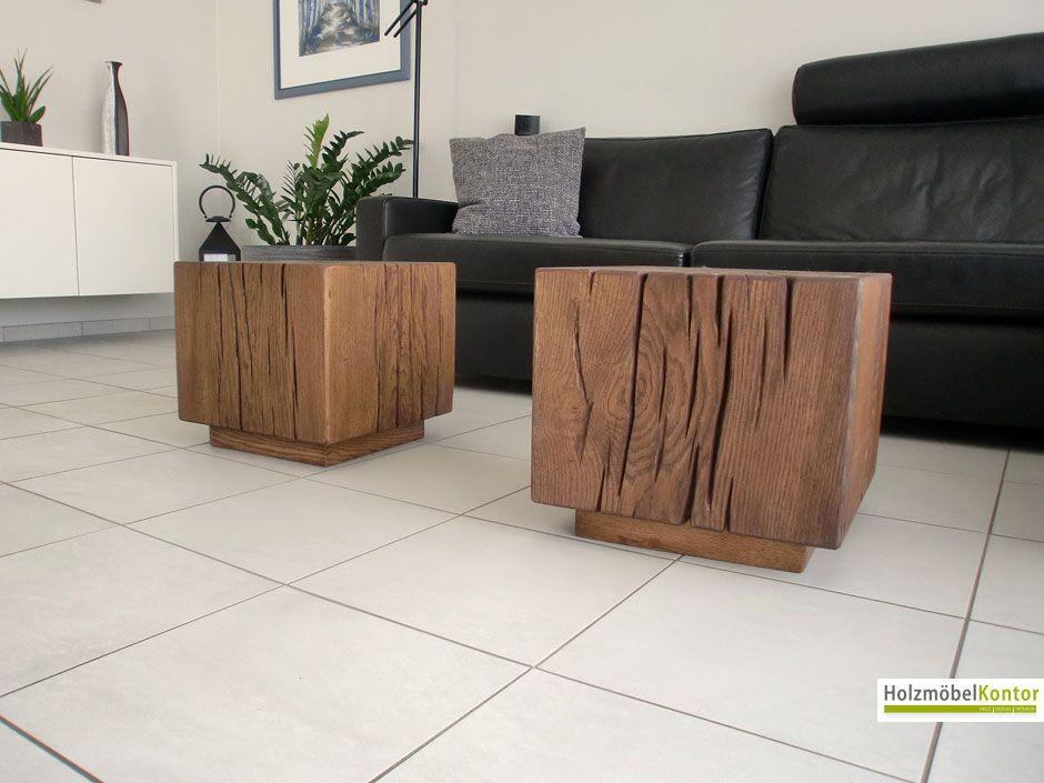 beistelltisch eiche massivholz block in palisander. Black Bedroom Furniture Sets. Home Design Ideas