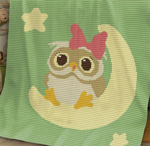Crochet Pattern Baby Blanket Pattern Owl On The Moon 2nd Crochet