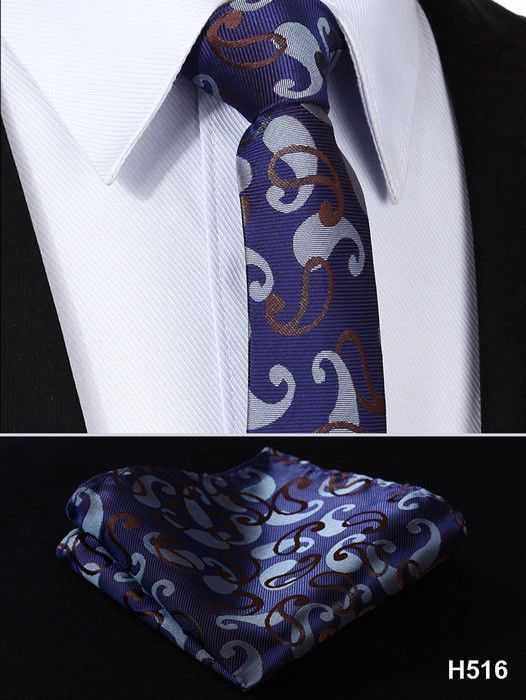 "Floral Paisley 2.75"" 100%Silk Wedding Jacquard Woven Men Tie Necktie Pocket Square Handkerchief Set Suit #H5"