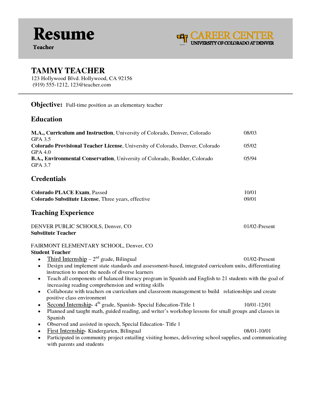 Examples Of Teacher Resumes Teacher Cover Letters With Experiencejob Hunting Write A Great