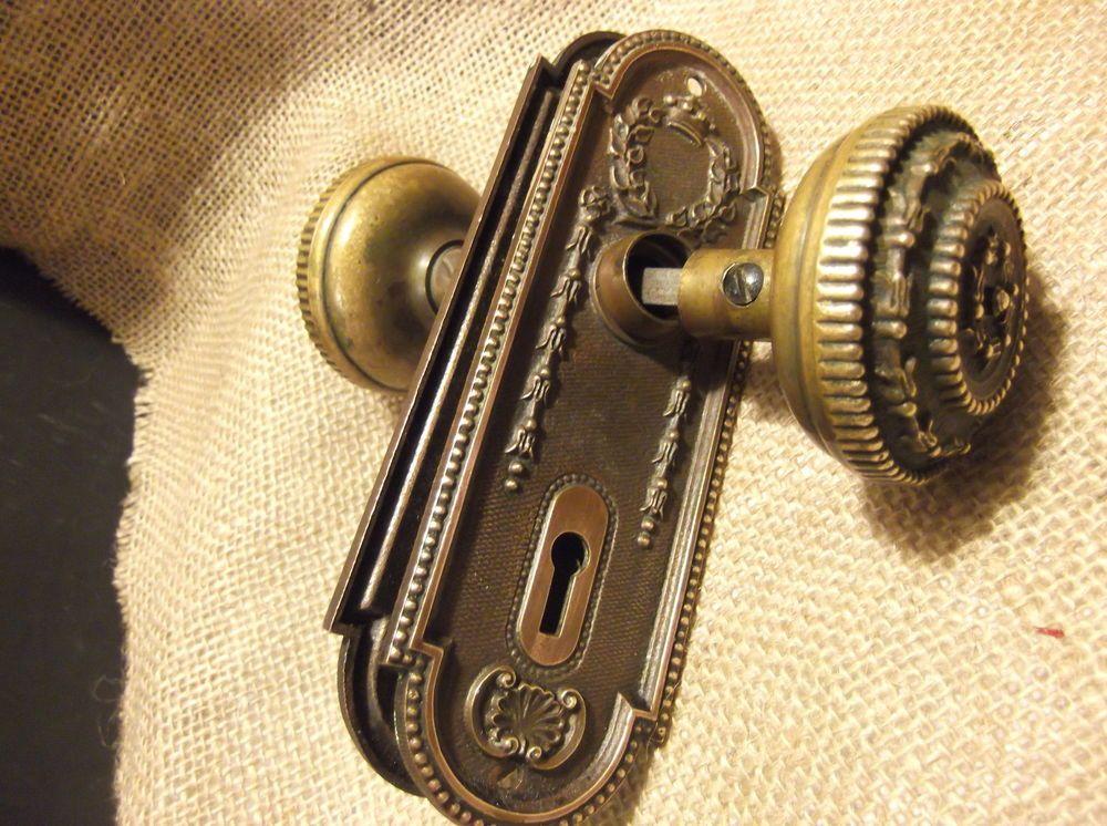 antique victorian ornate bronze door knob set w matching back
