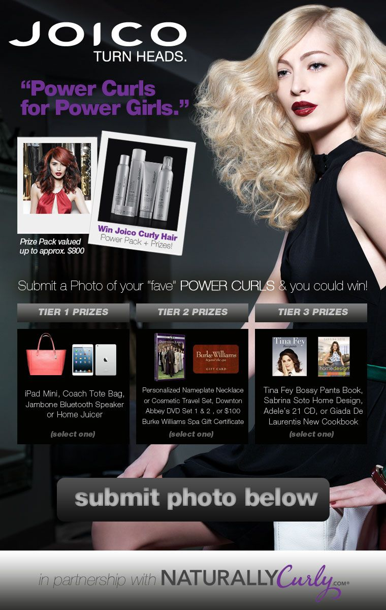 Submit Your Curly Hair Pic To Joico S Power Curls For Power Girls Contest Win Joico Products Prizes Like An Ipad Min Curly Hair Styles Power Girl Free Hair