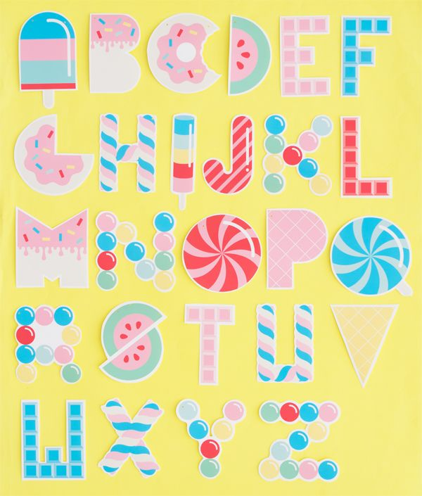 Free Printable Candy Letter Garland Oh Happy Day Candy Letters Letter Garland Lettering