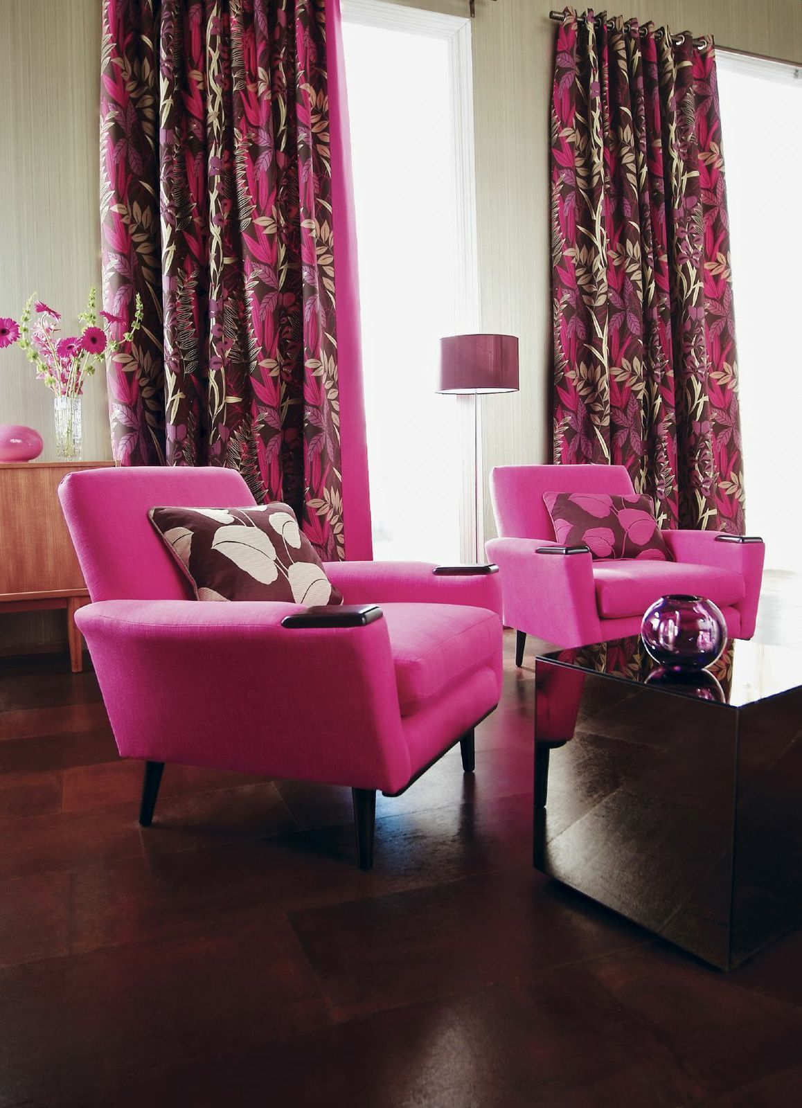 Rich Shades Of Fuchsia And Magenta Combined With Wide Plank Floors