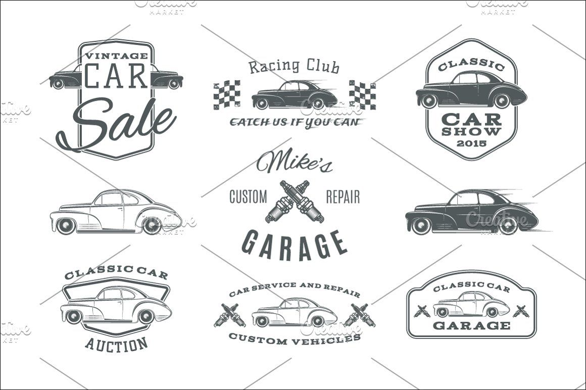 Vintage, classic car service labels (With images