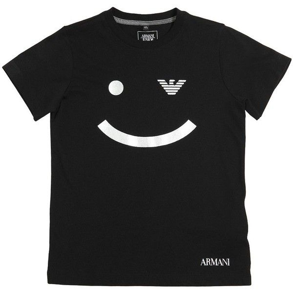 Armani Junior Kids-boys Emoticon Printed Cotton Jersey T-shirt (725 NOK) ❤ liked on Polyvore featuring black