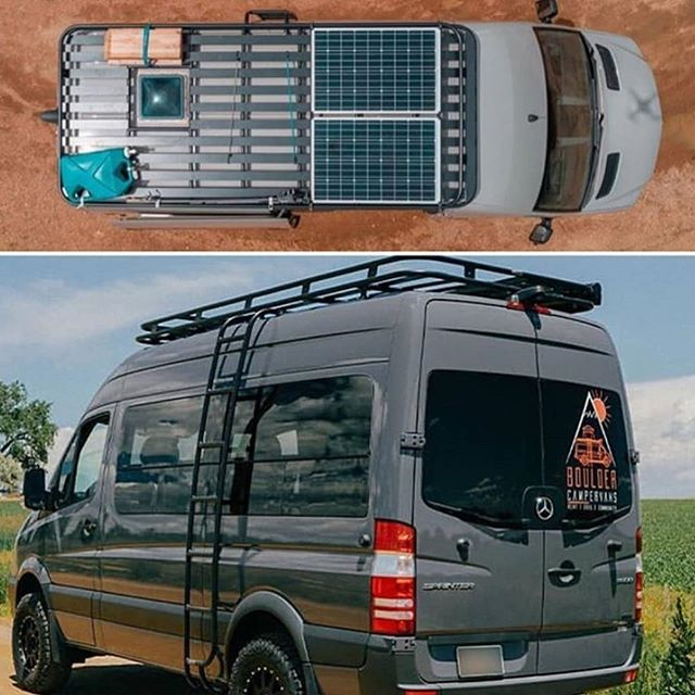 Aluminess Roof Racks Create A Second Story For Your Rig Plenty Of Room For Solar Panels Vents Air Conditio In 2020 Van Conversion Solar Van Roof Racks Solar Camping
