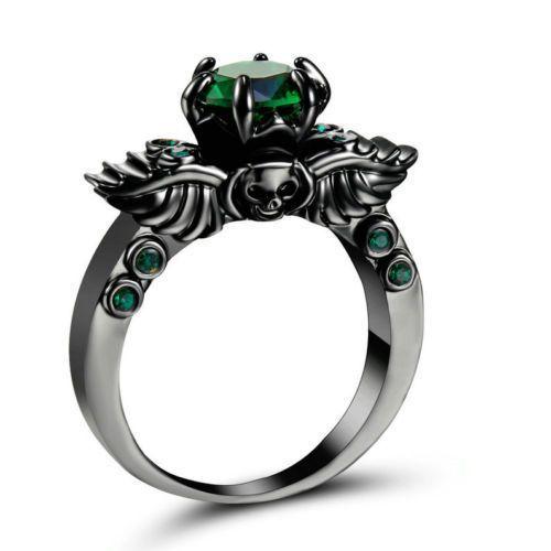 Ladies Badass Black Platinum Plated Emerald Skull Ring Size 8 5 Badass Solitair Amethyst Wedding Rings Gold Plated Wedding Band Emerald Engagement Ring Green