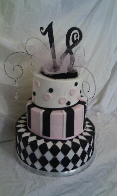 18th Birthday Cake Pink Black And White Theme Party Cupcake