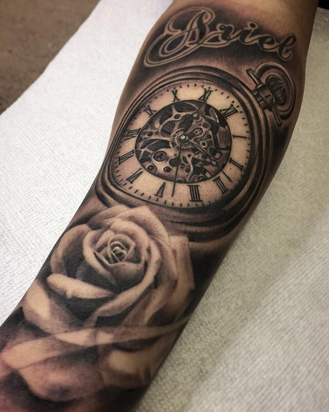 Clock Rose And Script Piece By Kevin Chen At Kchenchronicink Done