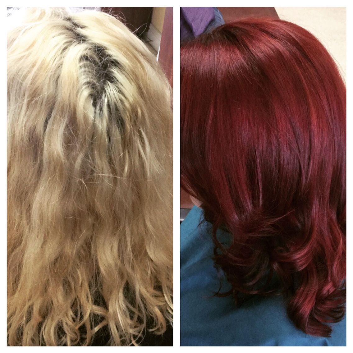 My Client Before And After Kenra Color Blonde To Red Red Hair Hair Color Burgundy Burgundy Hair Boring Hair