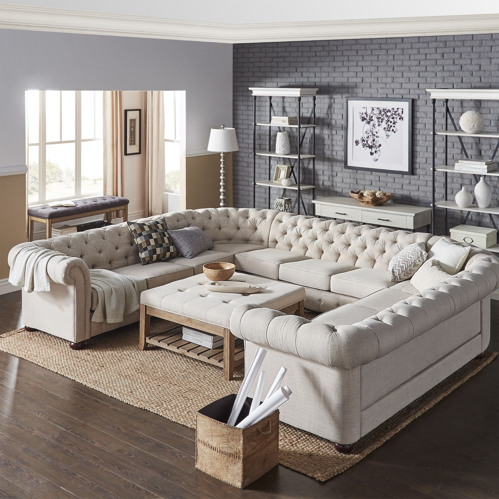 Mona 142 Chesterfield Sectional Sofa Apartment Living Room