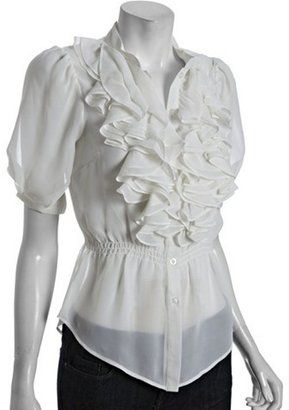 9c8cea15cc73bd ShopStyle: Romeo & Juliet Couture black chiffon ruffle blouse | work ...
