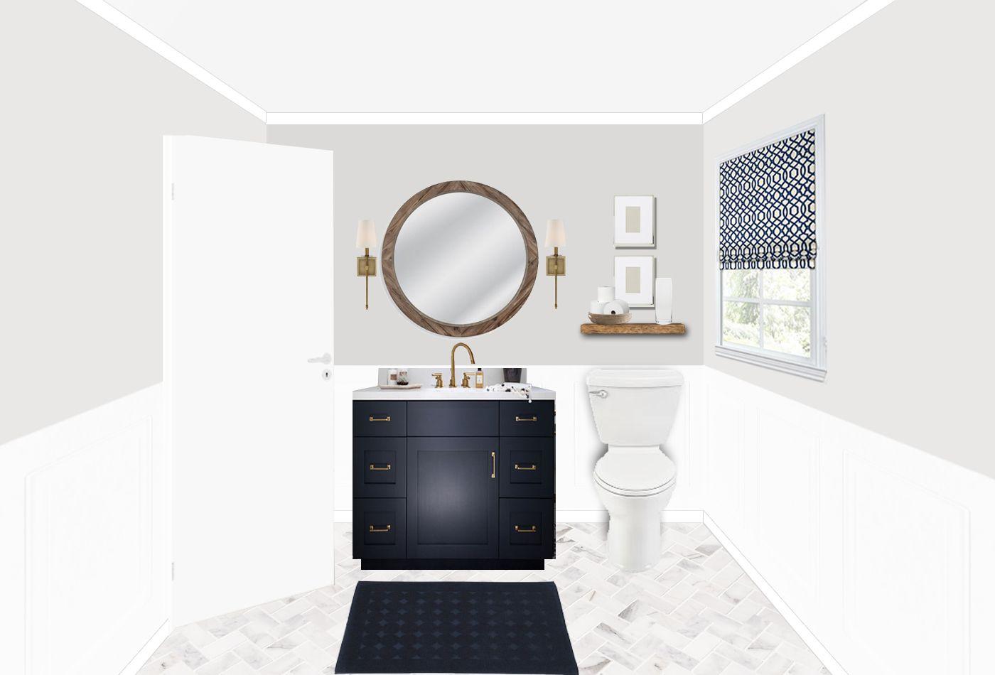 Transitional Bathroom Design With Navy Vanity Gold Hardware Round Wood Mirror Herringb Transitional Bathroom Design Bathroom Interior Design Bathroom Design