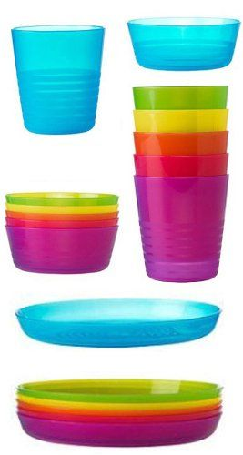 Plastic Cups Bowls and Plates Set Assorted Colours Pack of 18 (Cups 20 cl Bowls Dia 12 cm u0026 Plates Dia 19 cm) Verdi ...  sc 1 st  Pinterest & Plastic Cups Bowls and Plates Set Assorted Colours Pack of 18 (Cups ...