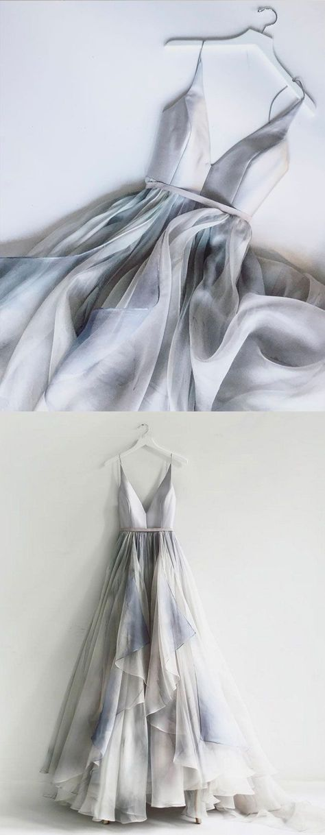 2d0f170f9bba A-Line Spaghetti Straps Backless Silver Prom Dress with Ruffles
