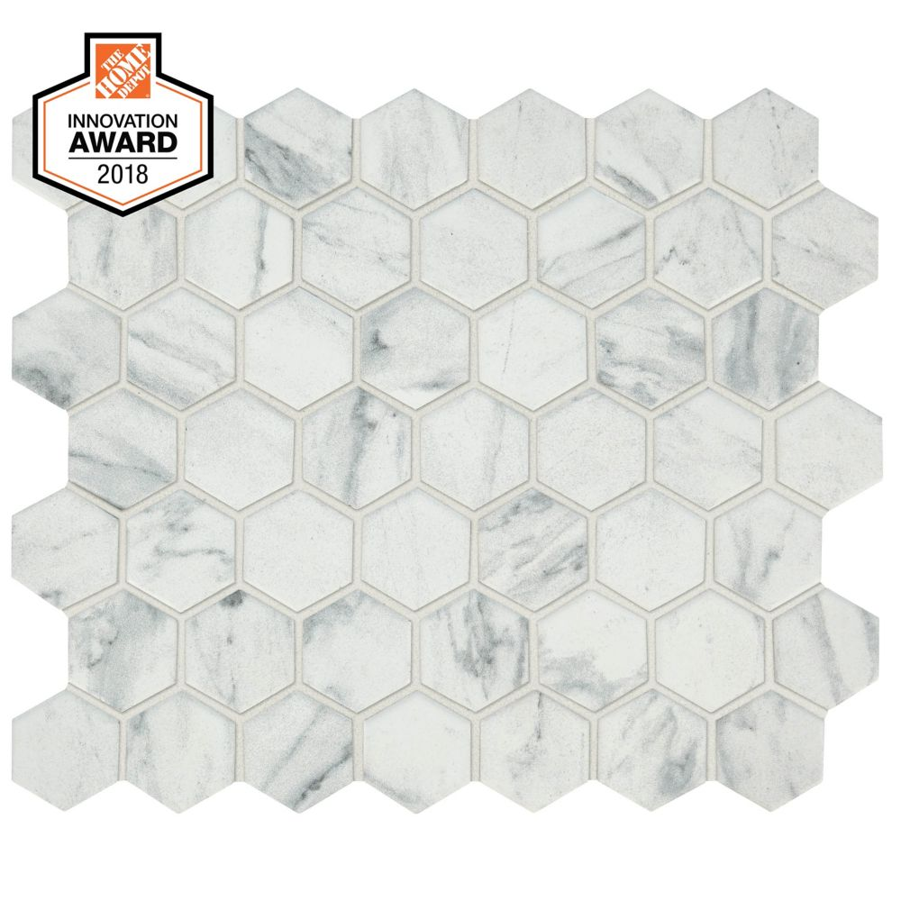 Lifeproof Carrara Slip Resistant Porcelain Tile Is 50 More Slip Resistant Than Ordinary Tile This W In 2020 Mosaic Flooring Hexagon Mosaic Floor Hexagon Mosaic Tile