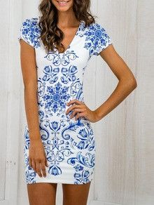 92c4679afb2 Blue and White Bodycon Dress with Tribal Print