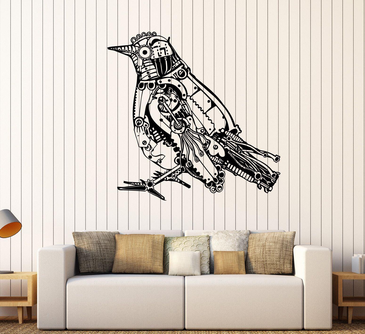vinyl wall decal steampunk bird mechanical art stickers 284ig vinyl wall decal steampunk bird mechanical art stickers 284ig