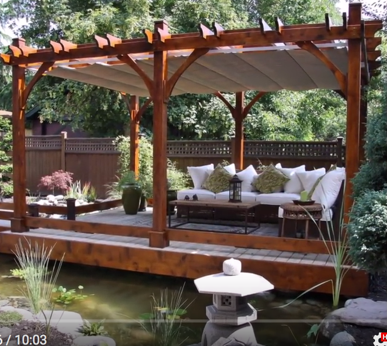 desirable natural outdoor patio pergola roof offer natural pond landscape combine floating pergola decking also lovable l shaped sofas and rectangle wooden