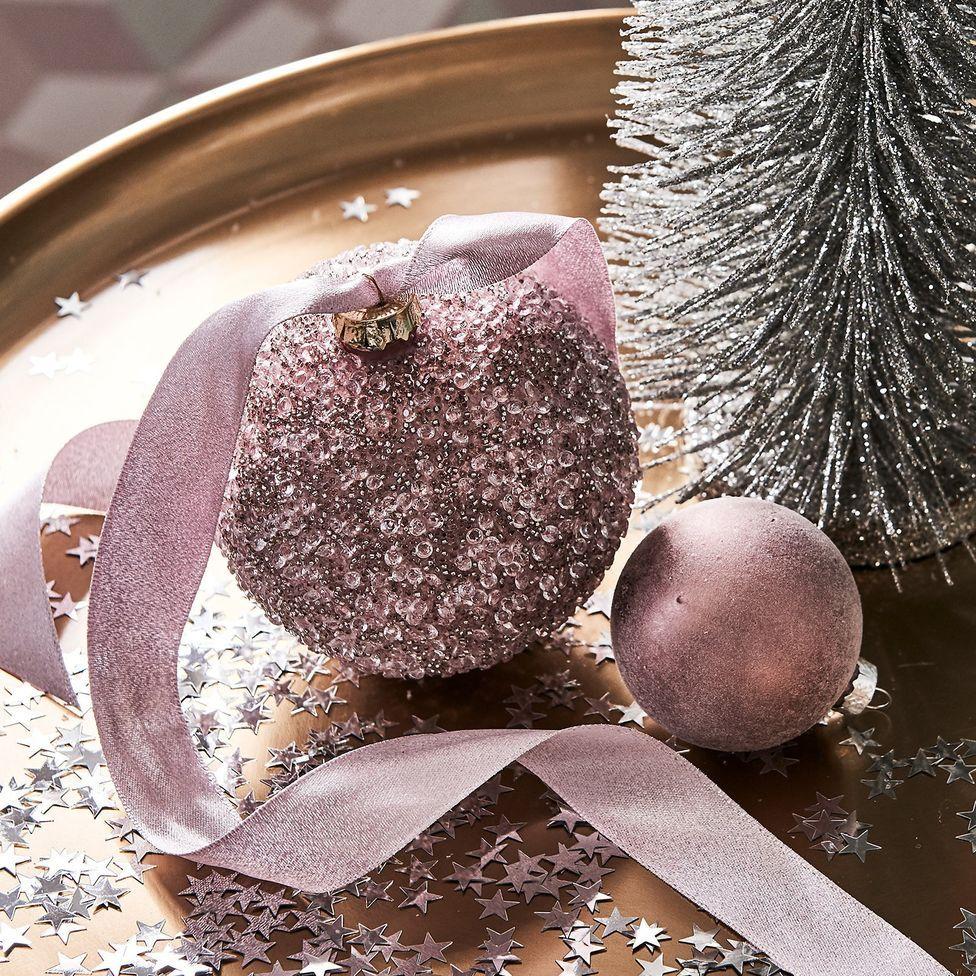 Weihnachtskugel Ballotini Glitzer Glas D 10cm Altrosa Weihnachtskugeln Rosa Weihnachtsschmuck Deko Weihnachten Tisch