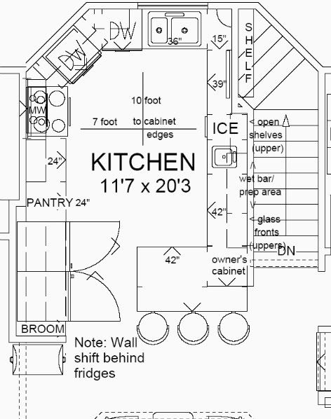 Opinions on our kitchen layout in beach cottage for Blueprints of restaurant kitchen designs
