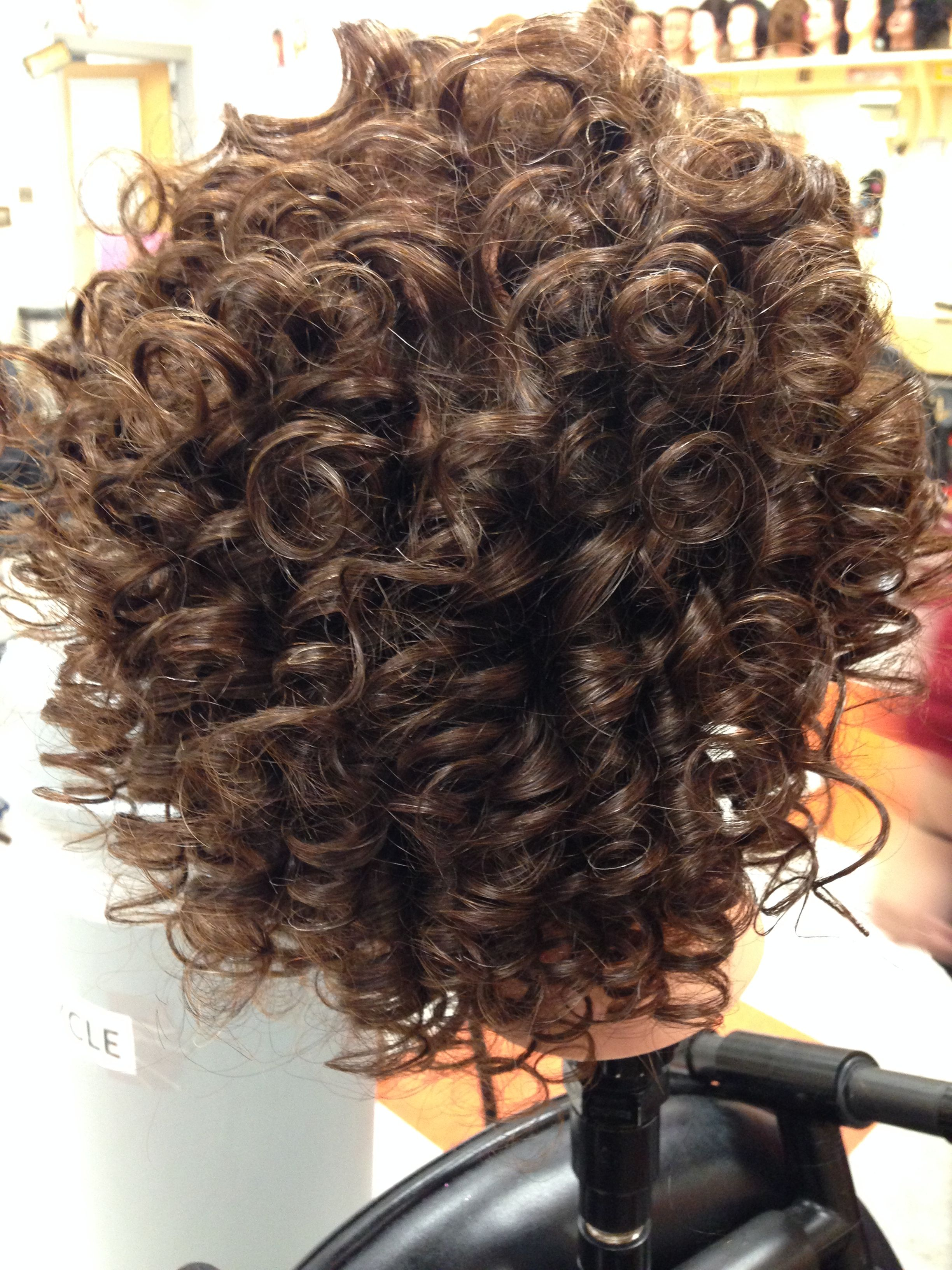 Back View Of Spiral Perm Permed Hairstyles Spiral Perm Short Permed Hair